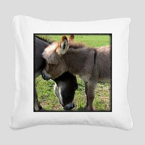 Baby Mini Donkey Hug Square Canvas Pillow