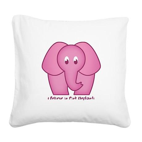Pink Elephants Square Canvas Pillow