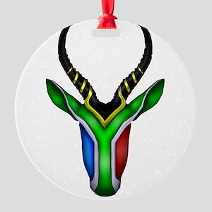 Springbok Flag Round Ornament
