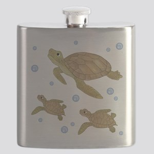 Sea Turtle Family Flask