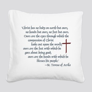 St. Teresa of Avila Quote Square Canvas Pillow