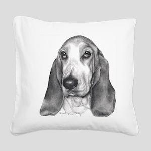 Bassett Hound Square Canvas Pillow
