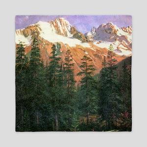 Albert Bierstadt Canadian Rockies Queen Duvet