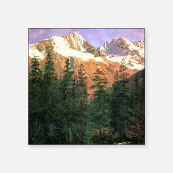 Albert Bierstadt Canadian Rockies Square Sticker 3