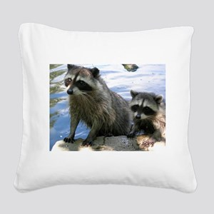 Racoon Buddies Square Canvas Pillow