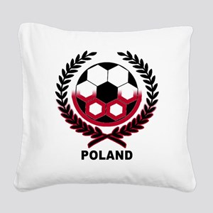 Poland World Cup Soccer Wreath Square Canvas Pillo