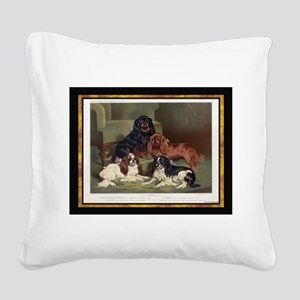 Antique King Charles Spaniels Square Canvas Pillow