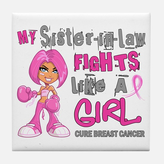Licensed Fight Like A Girl 42.9 Breas Tile Coaster