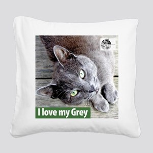 Grey Cat Square Canvas Pillow