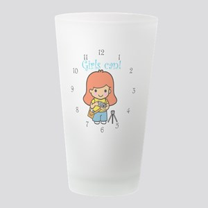 Girls can redhead photograp Frosted Drinking Glass