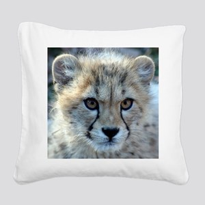 Cheetah Cub Square Canvas Pillow