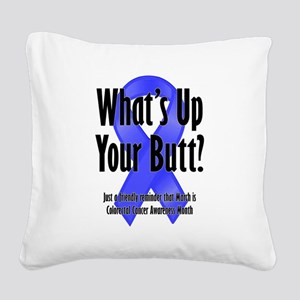 Colorectal Cancer Awareness Square Canvas Pillow