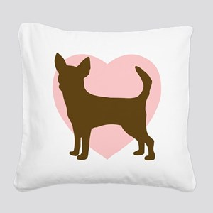 Chihuahua Heart Square Canvas Pillow