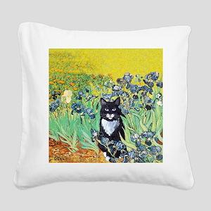 Irises & Cat Square Canvas Pillow