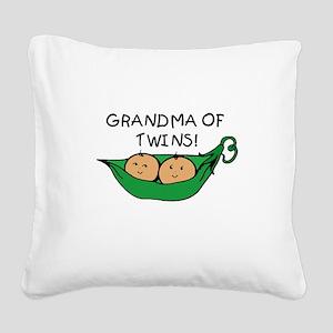 Grandma of Twins Pod Square Canvas Pillow