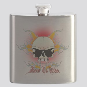 skull, flames Born to ride Flask