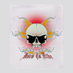 bmx,flaming skull Throw Blanket