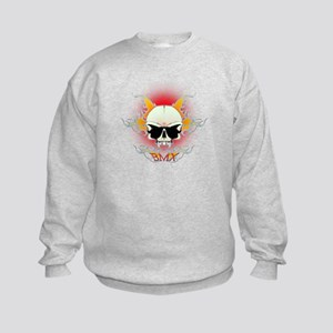 bmx,flaming skull Kids Sweatshirt