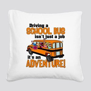 Driving a School Bus Square Canvas Pillow