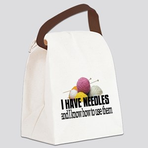 Knitting Needles Canvas Lunch Bag