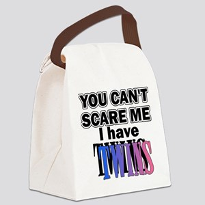 You Can't Scare Me...Twins Pink Canvas Lunch Bag