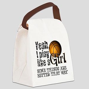 Play Like a Girl - Basketball Canvas Lunch Bag