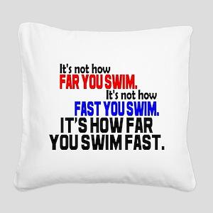 Swim Fast Square Canvas Pillow