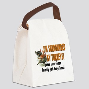 Surrounded by Turkeys Canvas Lunch Bag