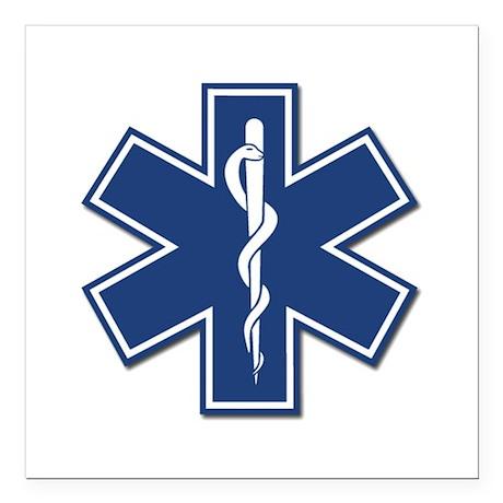 ems emt rescue logo square car magnet 3 x 3 by bonfiredesigns