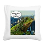 Comical Iguana Square Canvas Pillow