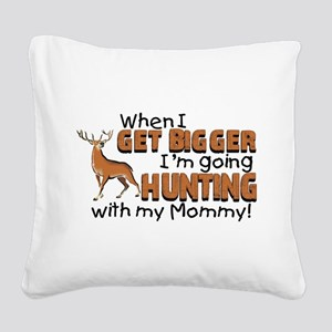 Hunting With Mommy Square Canvas Pillow