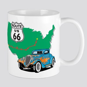 Route 66 With blue Hot Rod Mug