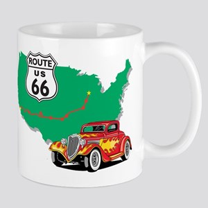 Route 66 With Red Hot Rod Mug