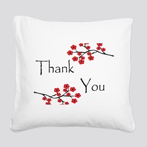 Red Cherry Blossoms Thank You Square Canvas Pi