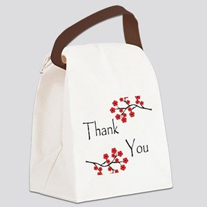 Red Cherry Blossoms Thank You Canvas Lunch Bag