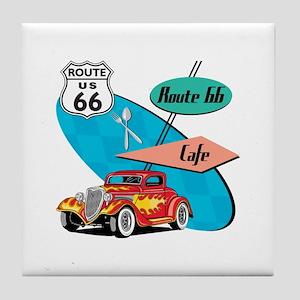 Red Hot Rod Route 66 Diner Tile Coaster