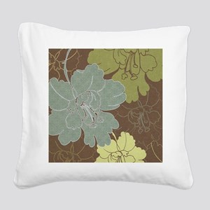 Blue Brown Hibiscus Square Canvas Pillow