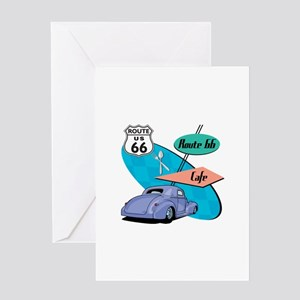 Hot Rod Route 66 Cafe Diner Greeting Card