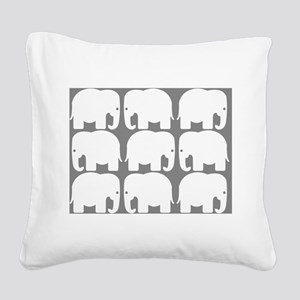 White Elephants Silhouette Square Canvas Pillow