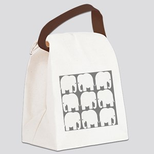 White Elephants Silhouette Canvas Lunch Bag