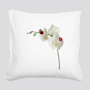 Lady Bugs Orchid Square Canvas Pillow
