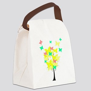 Yellow Butterfly Tree Canvas Lunch Bag