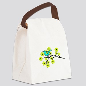 Yellow Cherry Blossom Bird Canvas Lunch Bag