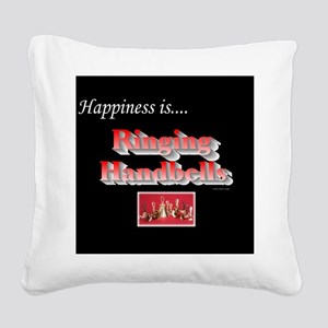 Happiness Is... Black Square Canvas Pillow