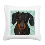 Dachshund Pop Art Square Canvas Pillow