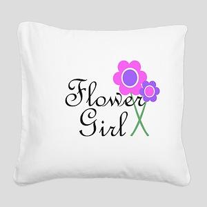 Purple Daisy Flower Girl Square Canvas Pillow