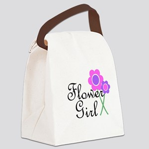 Purple Daisy Flower Girl Canvas Lunch Bag