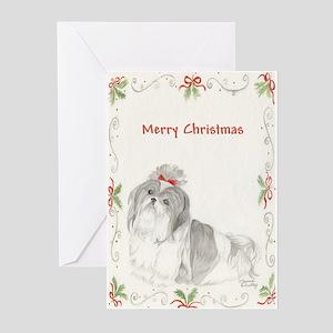 Shih Tzu Christmas SP Gray & White Greeting Cards