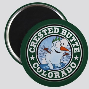 Crested Butte Snowman Circle Magnet