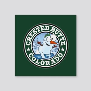"Crested Butte Snowman Circle Square Sticker 3"" x 3"